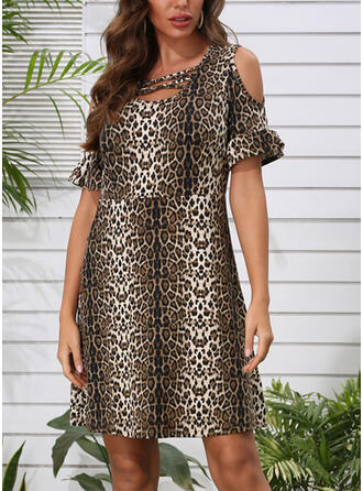 Leopard 1/2 Sleeves/Cold Shoulder Sleeve Sheath Knee Length Casual Dresses