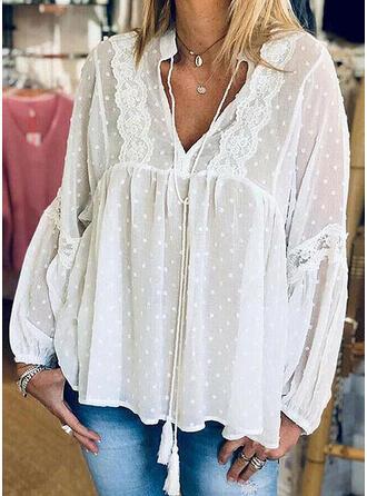 Lace PolkaDot V-Neck Long Sleeves Casual Knit Blouses
