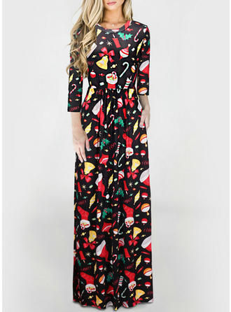 Print 3/4 Sleeves Sheath Maxi Christmas/Casual Dresses