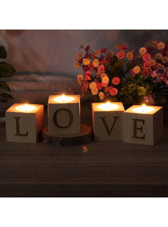 Romantic Wood Tea Light (Set of 4)