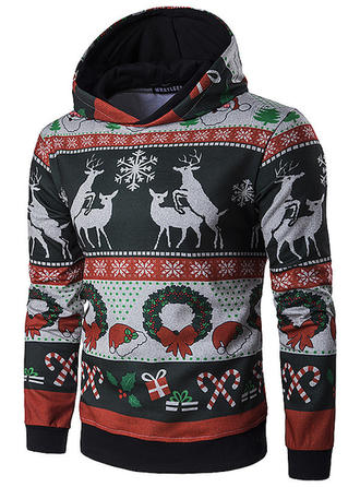 Men's Cotton Cotton Blends Print Reindeer Christmas Sweatshirt