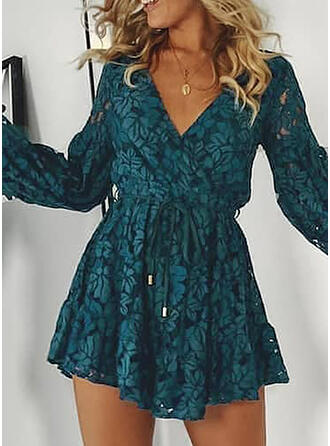 Lace/Solid Long Sleeves/Lantern Sleeve A-line Above Knee Party Skater Dresses