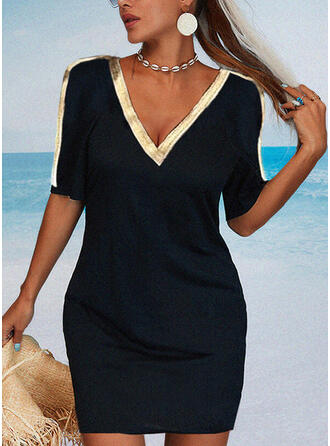 Color Block Sequins 1/2 Sleeves Bodycon Above Knee Casual/Elegant Dresses