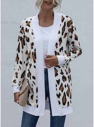 Long Sleeves Leopard Jackets