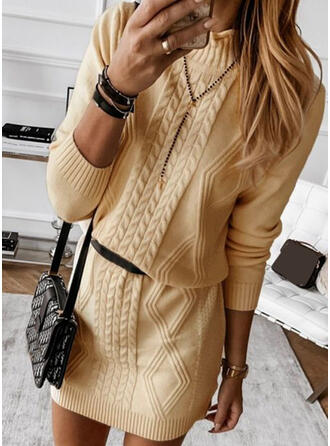 Solid Cable-knit Stand Collar Casual Long Sweater Dress