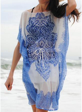 Floral Round Neck Bohemian Cover-ups Swimsuits