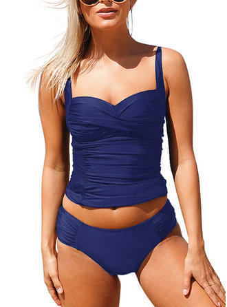 Solid Color Strap Classic Tankinis Swimsuits