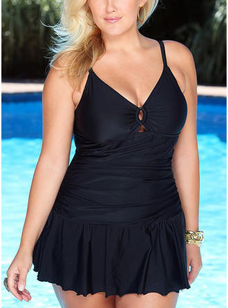 Solid Color String Strap Elegant Plus Size Swimdresses Swimsuits