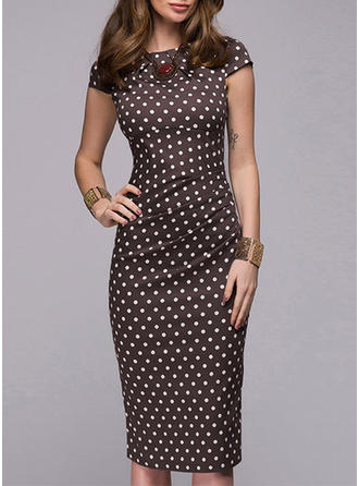 PolkaDot Round Neck Knee Length Sheath Dress