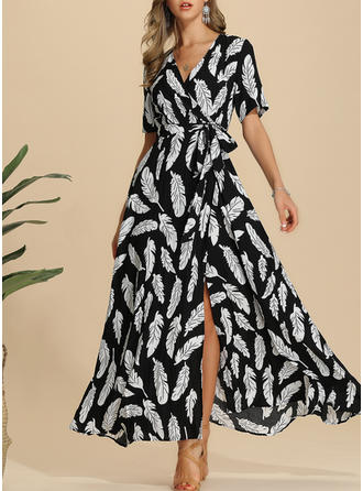 Print 1/2 Sleeves A-line Casual/Elegant/Boho/Vacation Maxi Dresses