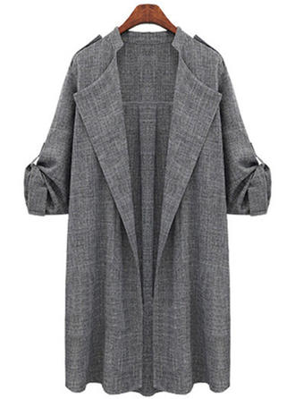 Cotton 1/2 Sleeves Plain Trench Coats