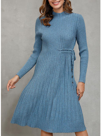 Solid Long Sleeves A-line Knee Length Long Dresses