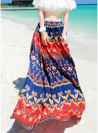 Chiffon Print Floor-Length A-Line Skirts