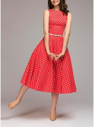 PolkaDot Round Neck Midi A-line Dress