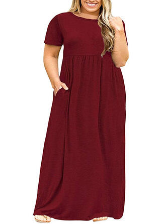Solid Short Sleeves Shift Little Black/Casual/Plus Size Maxi Dresses