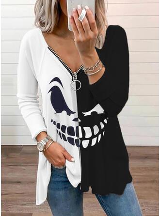 Halloween 印刷 カラーブロック Vネック 長袖 raglan袖 カジュアル ブラウス