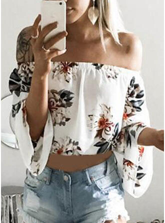Print Floral Off the Shoulder Flare Sleeve Long Sleeves Sexy Blouses