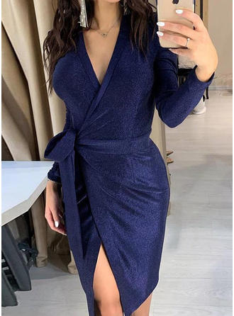 Solid Long Sleeves Sheath Knee Length Party/Elegant Dresses