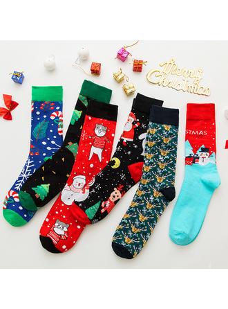Unisexo Feliz Navidad Monigote de nieve Reno Papa Noel Algodón Medias Calcetines de navidad