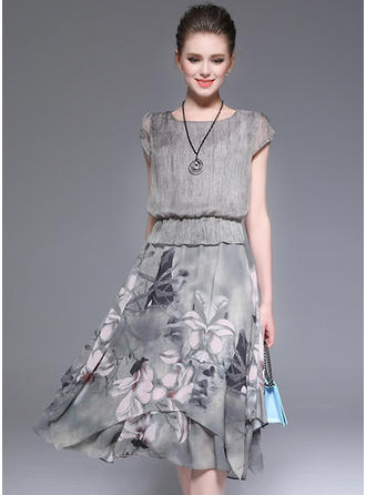 Polyester/Chiffon With Print Knee Length Dress
