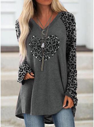 Leopard Hjerte V-hals Lange ærmer Sweatshirts