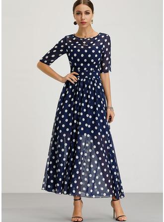 Groszki Krótkie rękawy W kształcie litery A Maxi Wintage/Casual/Elegancki Sukienki