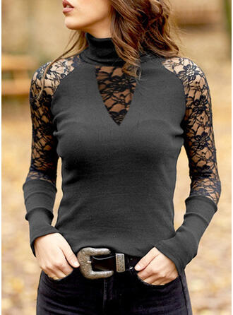 Solid Lace High Neck Long Sleeves T-shirts