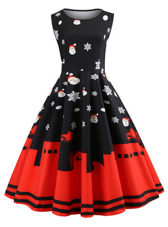 Print Sleeveless A-line Knee Length Vintage/Christmas Dresses