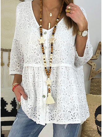 Lace V Neck 3/4 Sleeves Button Up Casual Elegant Blouses