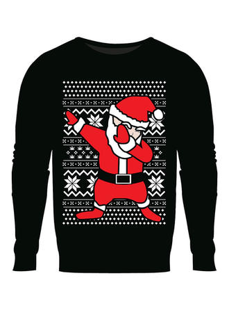 Men's Cotton Cotton Blends Print Santa Christmas Sweatshirt