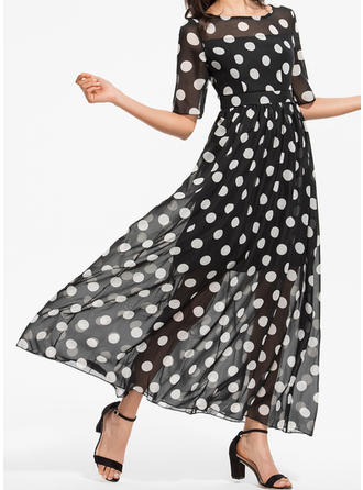 PolkaDot 1/2 Sleeves A-line Maxi Party/Elegant Dresses