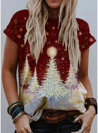 Print Round Neck Short Sleeves Casual Christmas T-shirts