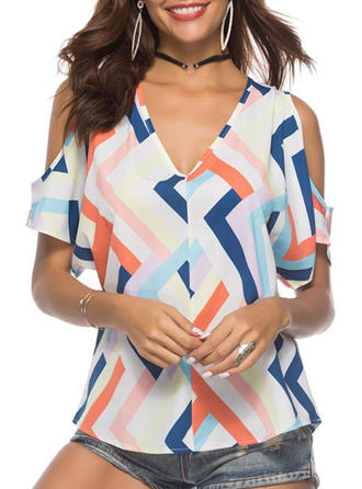 Geometric Print Cold Shoulder Short Sleeves Casual Elegant Blouses