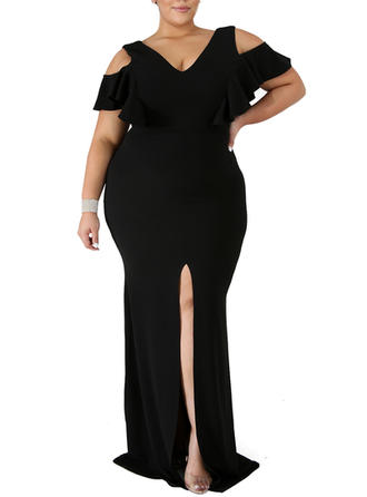 Solid Cold Shoulder Sleeve Sheath Maxi Little Black/Party Dresses
