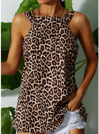 Leopardo Cuello redondo Sin mangas Casual Camisetas sin mangas (1003301465)