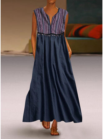 Print Sleeveless Shift Casual Maxi Dresses