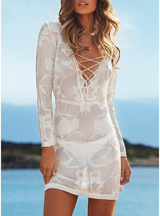 Elegant Solid Color V-neck Cover-ups Swimsuit