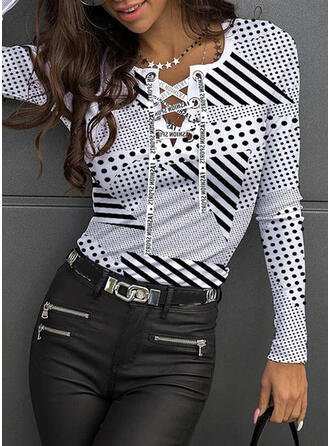 Print Striped PolkaDot Figure Round Neck Long Sleeves Casual Blouses