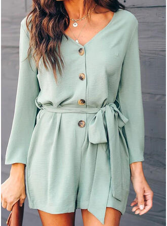 Solid V-Neck Long Sleeves Casual Romper