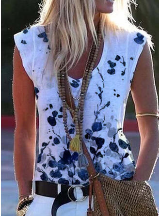 Floral Print V-Neck Short Sleeves T-shirts