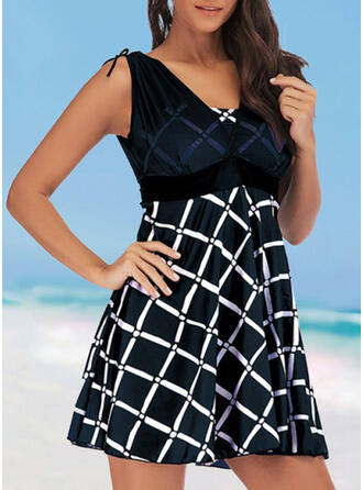 Plaid Strap V-Neck Fresh Plus Size Swimdresses Swimsuits