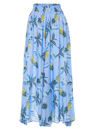 Algodón Floral Maxi Faldas A-Line