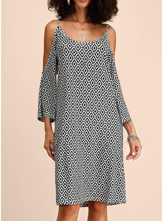 Print 3/4 Sleeves/Cold Shoulder Sleeve Shift Knee Length Casual/Vacation Dresses