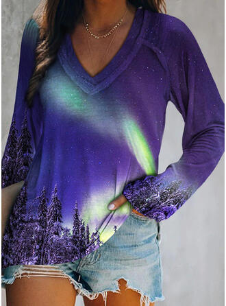 Forest Print V-Neck Long Sleeves T-shirts (1044356881)