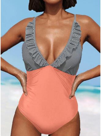 Stripe Strap V-Neck Sexy Fresh One-piece Swimsuits