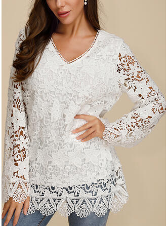 Solid Floral Lace V-Neck Long Sleeves Casual Elegant Blouses