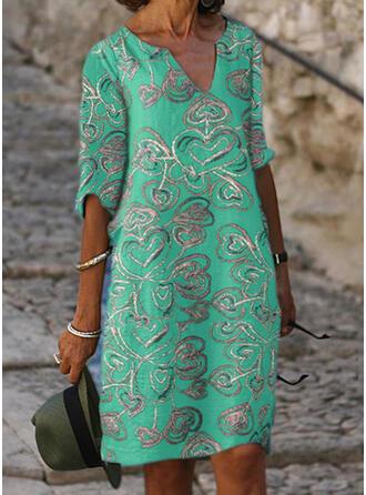 印刷 1/2袖 シフトドレス 膝丈 カジュアル/休暇 ドレス