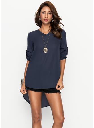 Solid V-neck Asymmetrical Shift Dress