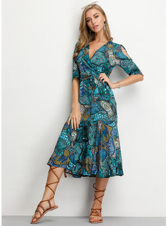 Print 1/2 Sleeves/Split Sleeve A-line Knee Length Casual/Elegant Dresses