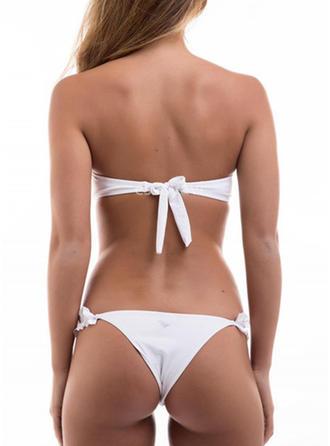 Color Sólido Neón Sin Tirantes Sexy Bikinis Trajes de baño